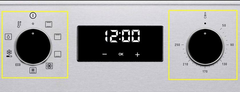 Bàn phím của lò nướngTEKA HBB 735 gồm nút cơ xoay và cảm ứng + ,-