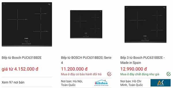 Giá bán bếp từ Bosch PUC631BB2E