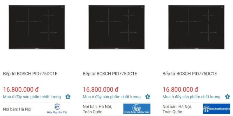 Giá bán bếp từ Bosch PID775DC1E trên websosanh