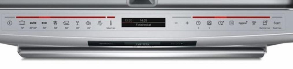Bảng điều khiển của máy rửa bátBosch SMS88TI40M