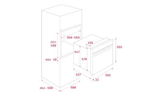 Kích thước lắp đặt lò nướngTEKA HBB 735