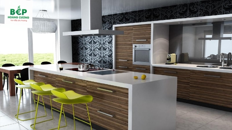 Thiết kế vùng bếp nấu ở giữa căn phòng cũng là xu hướng được nhiều người thích,