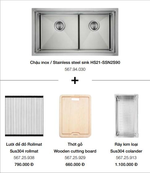 Bộ chậu rửa và phụ kiện Hafele HS21-SSN2S90