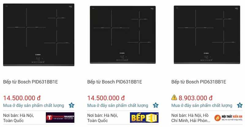 So sánh giá bán bếp từ Bosch PID631BB1E trên websosanh