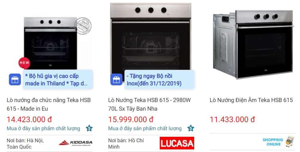 Giá bán lò nướng Teka HSB 615 trên websosanh