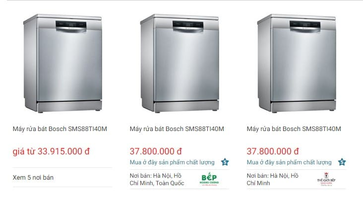 Giá bán của máy rửa bát Bosch SMS88TI40M