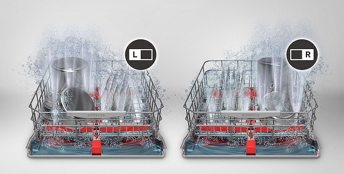 Hình ảnh làm sạch đồ dùng với tính năngIntensive Zone trong máy rửa bát