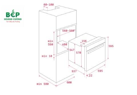 Kích thước lắp đặt lò nướngTEKA HSB 635