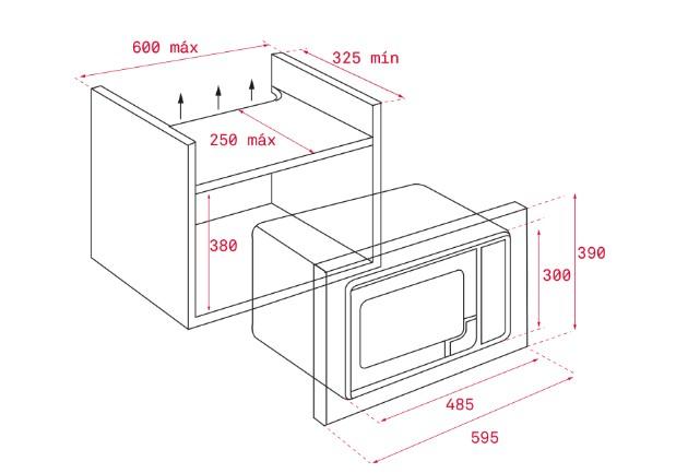 Kích thước lắp đặt lò vi sóngTEKA ML 820 BI chính xác nhất