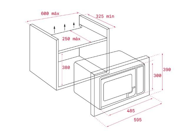 Kích thước lắp đặt lò vi sóngTEKA MS 620 BIH
