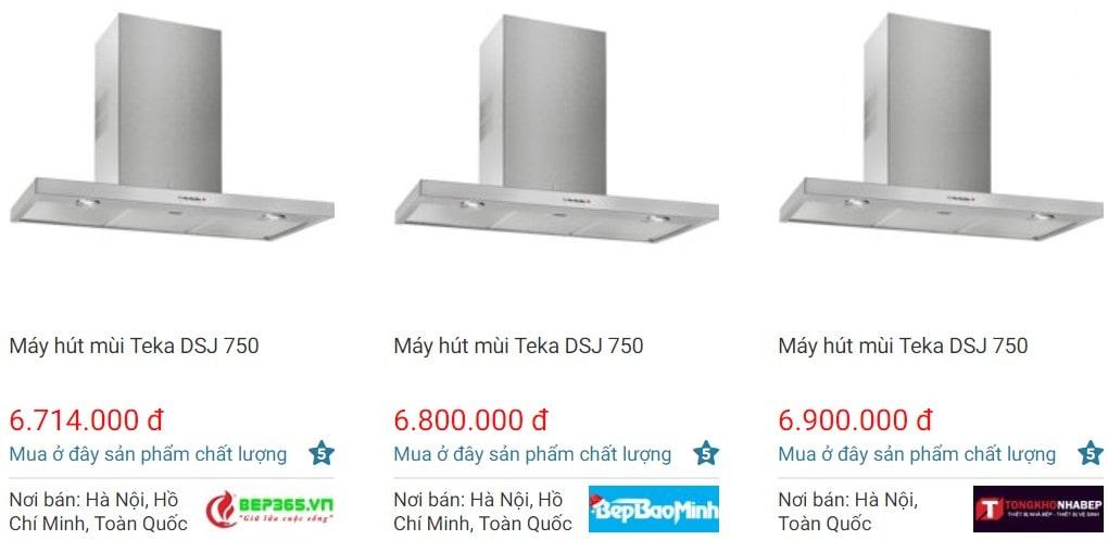 So sánh giá hút mùi TekaDSJ 750 trên websosanh