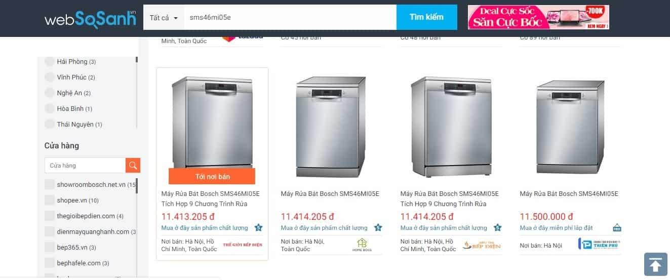 So sánh giá máy rửa bát bosch SMS46MI05E  trên websosanh