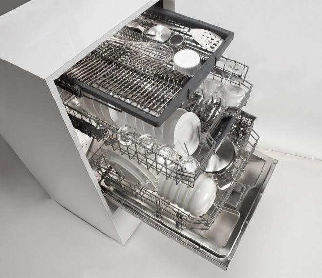 Máy rửa bát có thể rửa tối đa 14 bộ bát đĩa Châu Âu