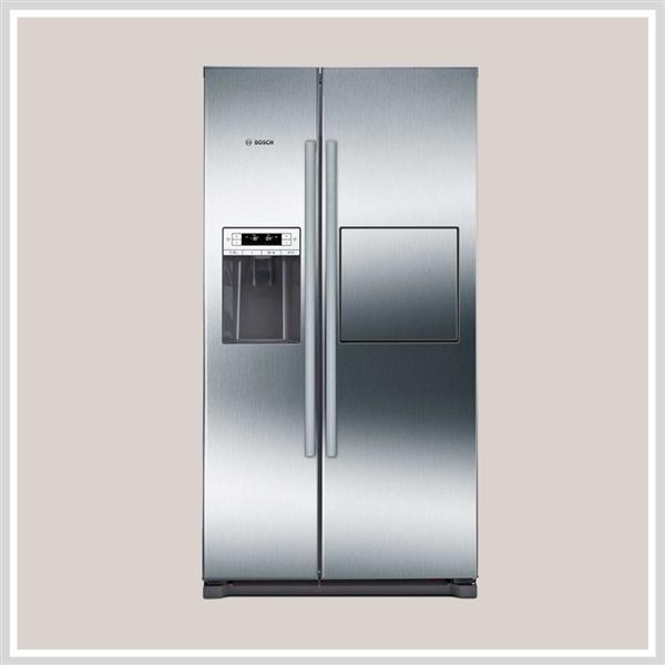 Tủ lạnh side by sideBosch KAG90AI20G có vỏ ngoài màu ghi tạo sự thanh lịch cho sản phẩm