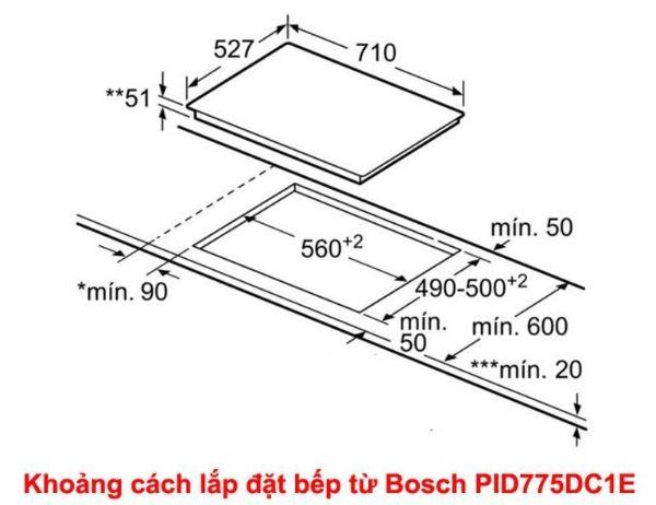 Kích thước lặp đặt bếp từ Bosch PID775DC1E