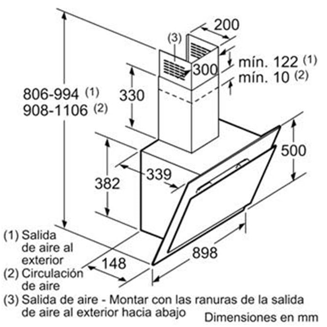 Mô phỏng kích thước lắp đặt máy hút mùiBosch DWK97JM60