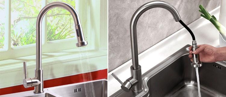 Vòi rửa bát cần rút thiết kế sang trọng manh phong cách Châu ÂU